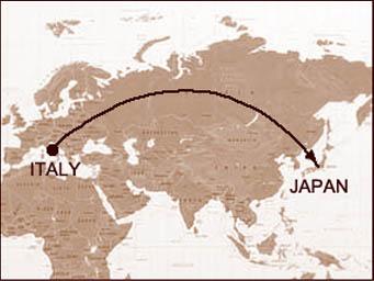 イタリアと日本の位置関係を表した地図