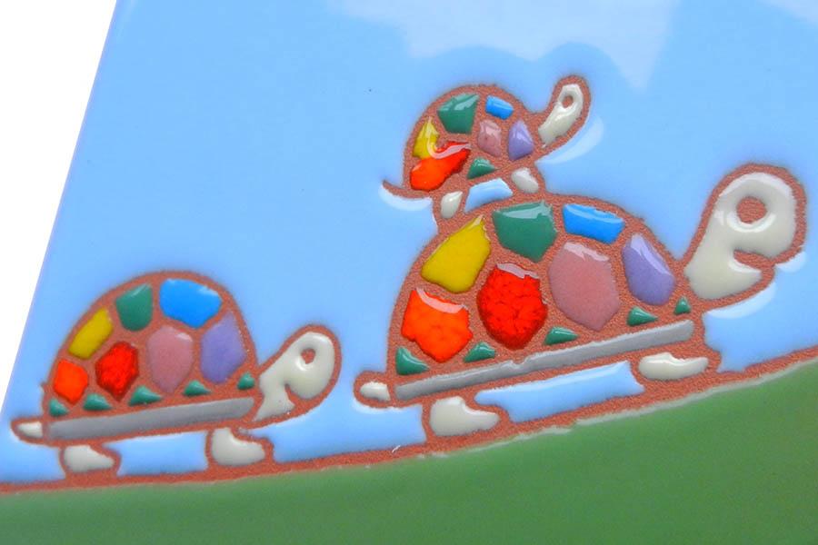亀の親子のタイル表札