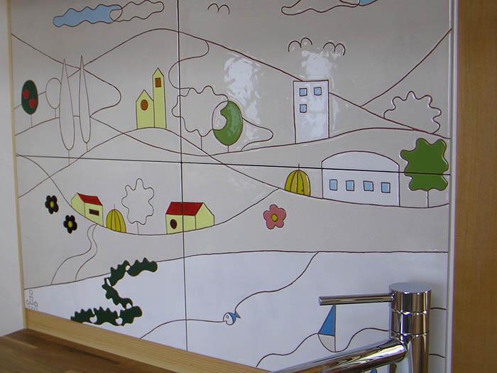 キッチンでアートタイル