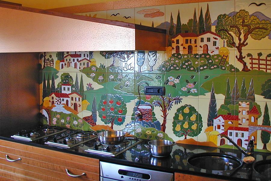 キッチンにタイルアート