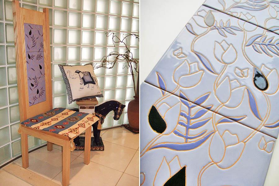 デザインタイルをはめた椅子