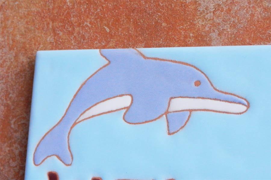 イルカとイカリのタイル表札