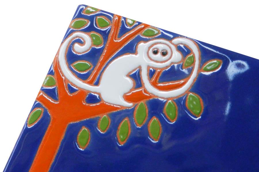 サルのタイル表札