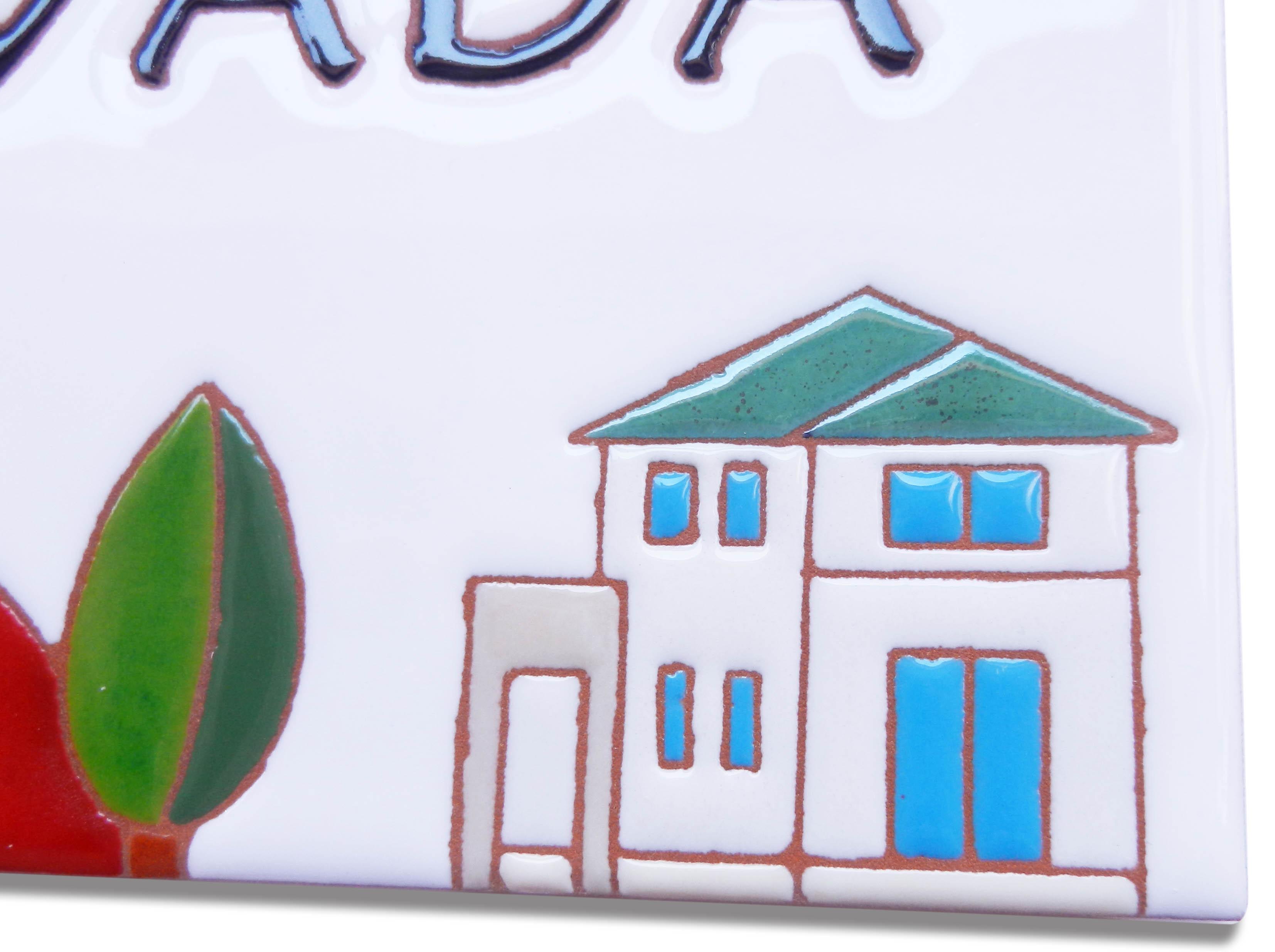 我が家とリスのタイル表札