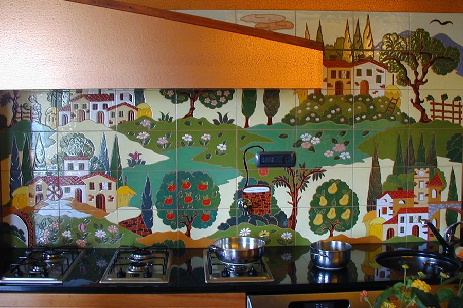 キッチンの装飾タイル