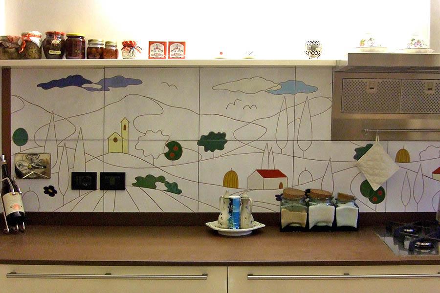 キッチンに施工したデザインタイル