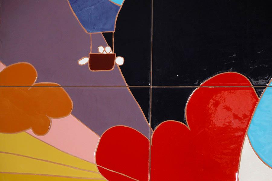 気球のデザインのタイルアート