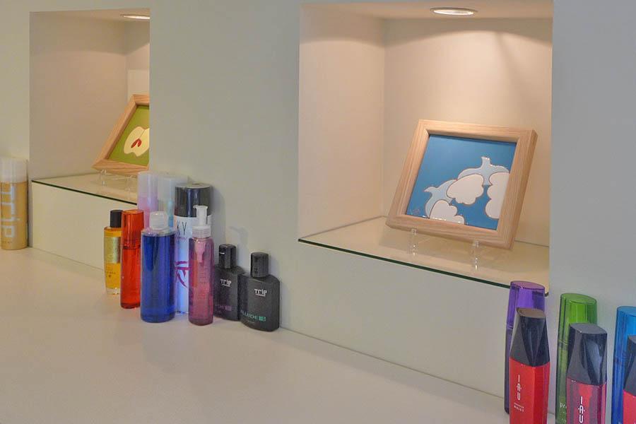 美容室のニッチ棚のタイルアート