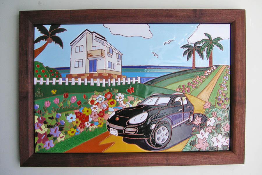 車と家のタイルアート
