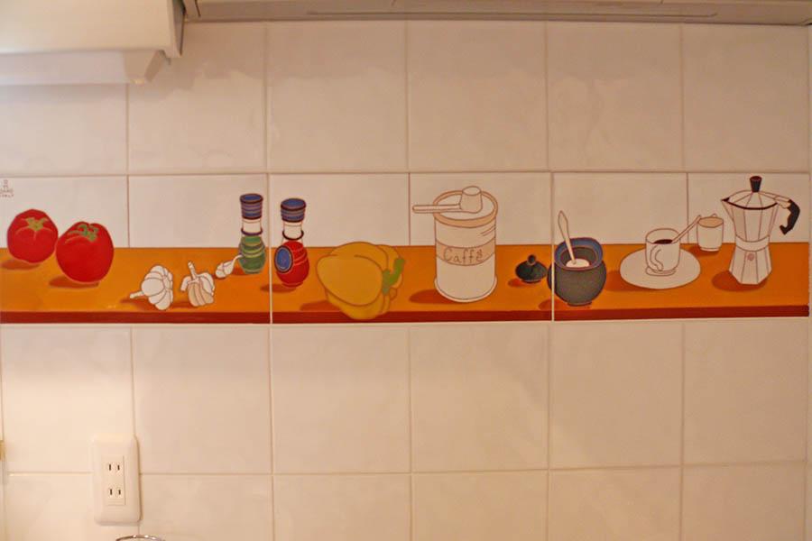 台所のオーダーデザインのタイル