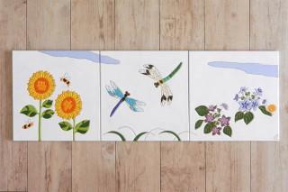 トンボと紫陽花のタイルアート