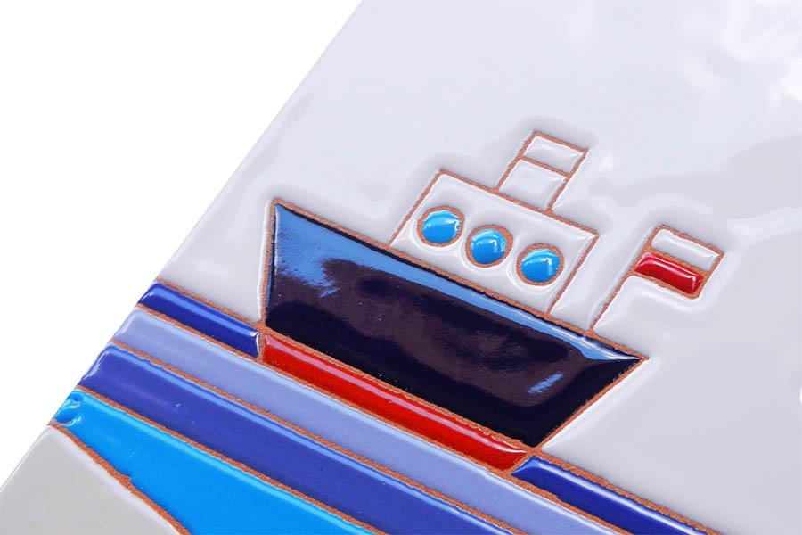 タコと船のタイル表札