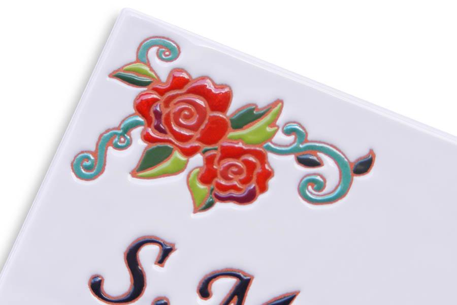 バラのタイル表札