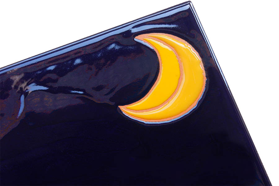 月と星のタイル表札