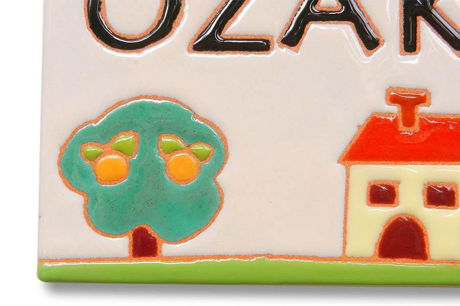 家と木のかわいいタイルの表札
