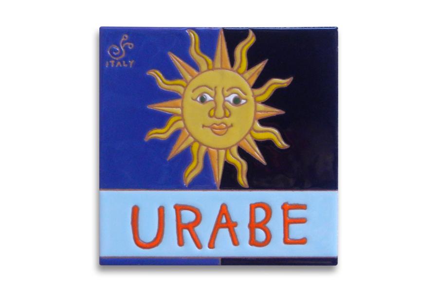 太陽デザインのイタリアンタイルの表札